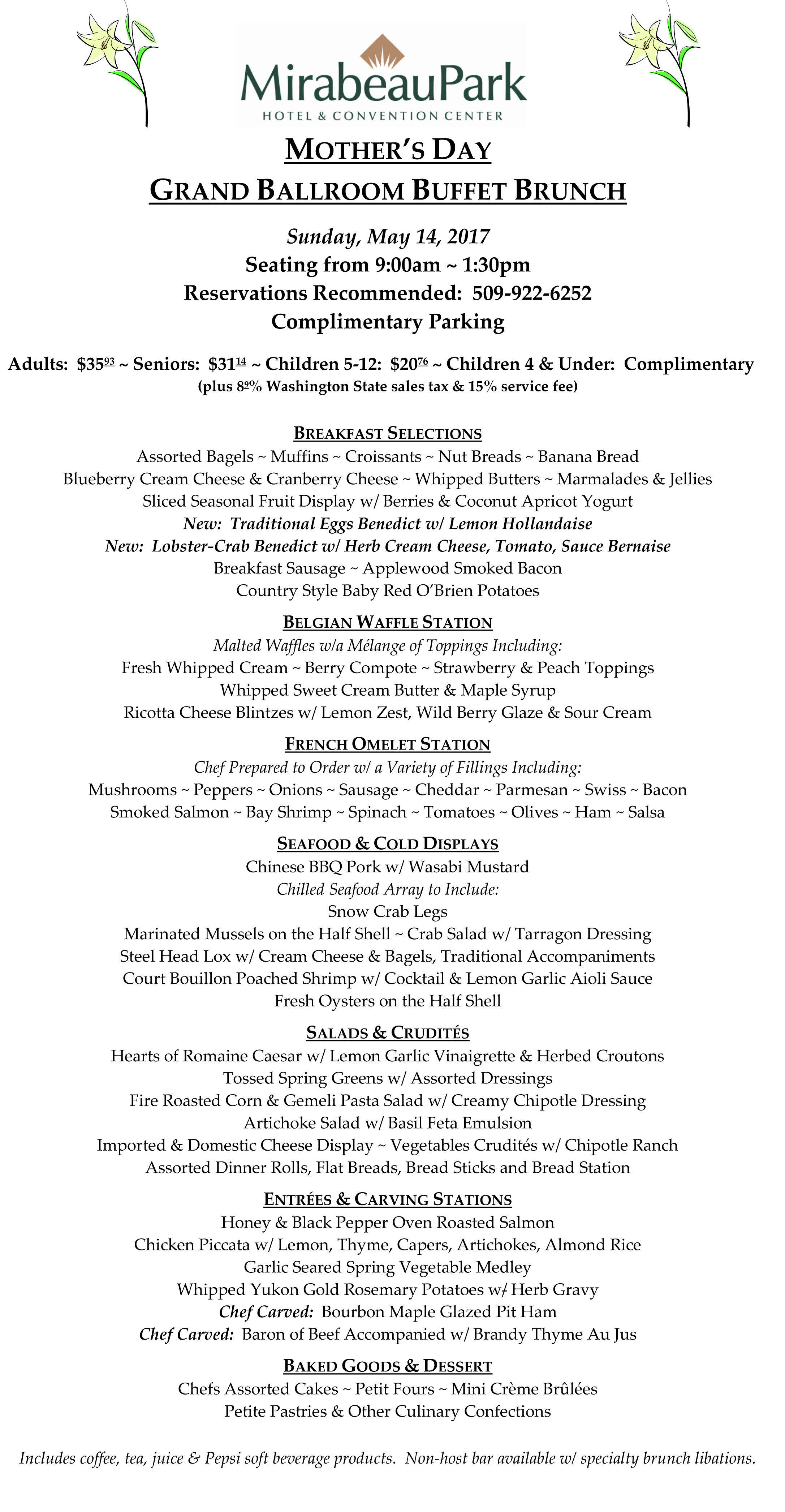 Mother's Day Buffet Menu 2017 copy